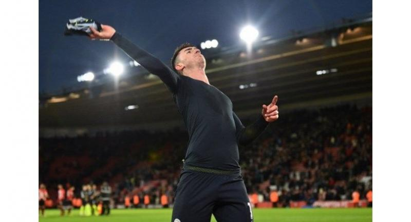 Manchester City's French defender Aymeric Laporte throws his shirt into the crowd after the English Premier League football match between Southampton and Manchester City at St Mary's Stadium in Southampton.