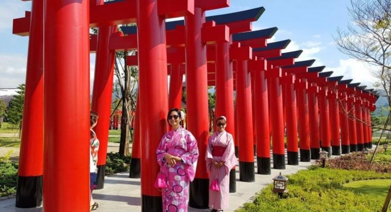A tunnel of torii at Hinoki Land mimics the one at Kyoto's Fushimi Inari Shrine.