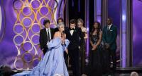 handout photo made available by the the Hollywood Foreign Press Association (HFPA) shows Lady Gaga (C) accepting the award for Best Original Song for 'Shallow' at the 76th Annual Golden Globe Awards ceremony at the Beverly Hilton Hotel.//EPA-EFE