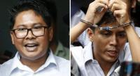 - A composite image shows Reuters journalists Wa Lone (L) and Kyaw Soe Oo (R) outside the Insein township court in Yangon, Myanmar.//EPA-EFE