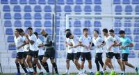 The Thailand players training in Al Ain.