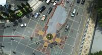 A cross-shaped road mosaic in front of the Surakarta City Hall in Central Java is partly covered with paint following complaints from conservative Muslim groups. (Courtesy of/the Surakarta Public Works Ministry)