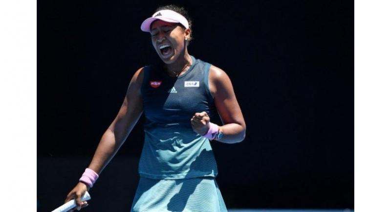 Japan's Naomi Osaka reacts after a point against Latvia's Anastasija Sevastova.