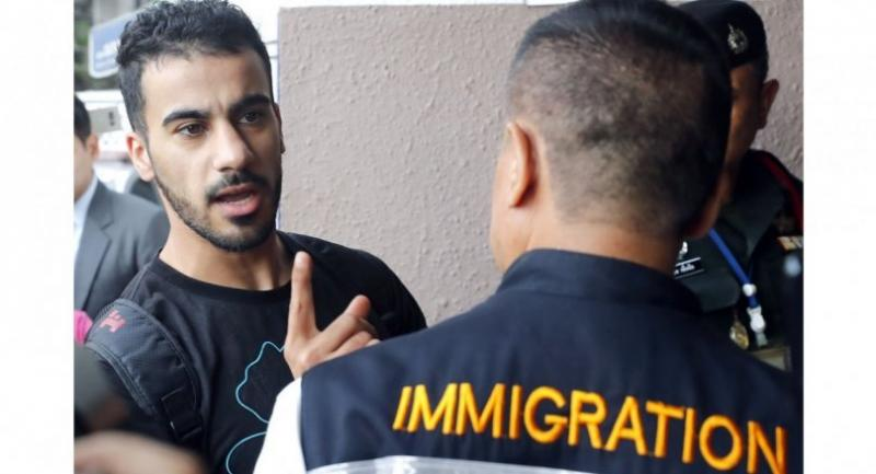 File photo: Bahraini soccer player with Australian refugee status Hakeem Al-Araibi (L) speask to the media as he is escorted into the Criminal Court by authorities in Bangkok, Thailand, 11 December 2018. // EPA-EFE PHOTO