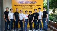 Executives of Mc Group, led by its executive-committee chair Kaisri Nuengsigkapian, centre, and CEO Sunee Seripanu, fourth from right, announce their vision and strategy.