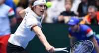 Germany's Alexander Zverev returns the ball during the Davis Cup qualifiers Tennis match Germany vs Hungary. / AFP