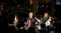 Fire service spokesman Clement Cognon speaks to the press after a building caught fire in the 16th arrondissement in Paris, on February 5.//AFP