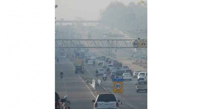 A road in Khon Kaen is shrouded in smog at 7am on Wednesday.Courtesy ofFacebook.com/myKhonKaen