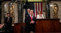 US President Donald J. Trump (C) delivers the State of the Union address, with Vice President Mike Pence and Speaker of the House Nancy Pelosi at the Capitol in Washington, DC, USA, on February 5.//EPA-EFE
