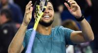 France's Jo-Wilfried Tsonga celebrates after winning the final of the Open Sud de France.