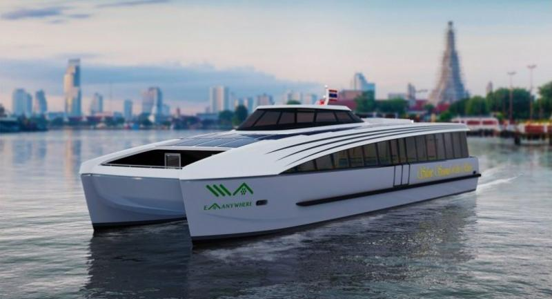 A perspective of one of the electric ferries that Energy Absolute is introducing to the Chao Phraya River in Bangkok.