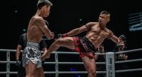 Nong-O Gaiyanghadao, right, blast a kick against Han Zi Hao of China.