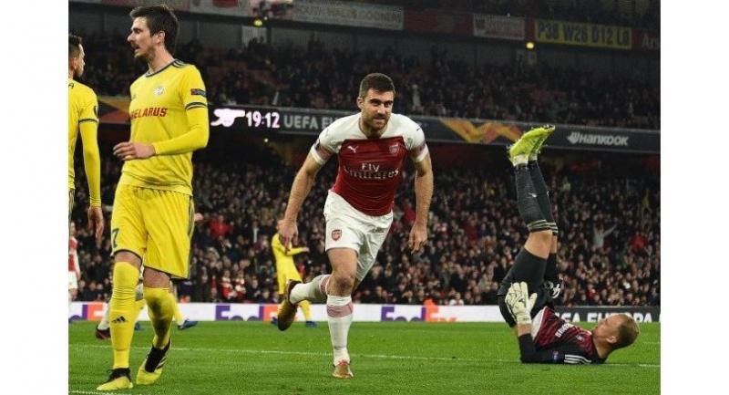 Arsenal's Greek defender Sokratis Papastathopoulos / AFP