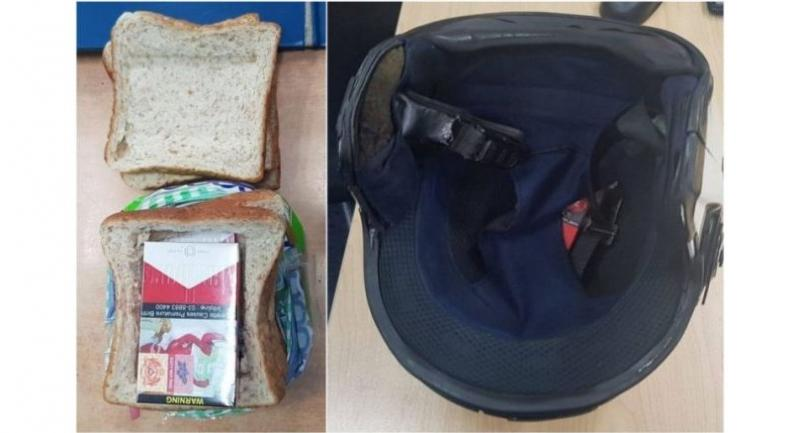 The man hid five packets of contraband cigarettes in a loaf of bread (left), which was placed in the basket of his motorcycle. A packet was also concealed in the padding of his motorcycle helmet//FACEBOOK/ IMMIGRATION