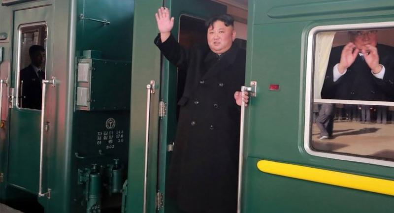 This picture taken on February 23 and released from North Korea's official Korean Central News Agency on February 24 shows North Korean leader Kim Jong Un (C) departing Pyongyang Station for the second North Korea-US summit meeting in Vietnam.//AFP