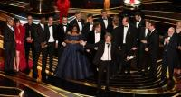 "Producers of Best Picture nominee ""Green Book"" Peter Farrelly and Nick Vallelonga accept the award for Best Picture with the whole crew on stage during the 91st Annual Academy Awards."