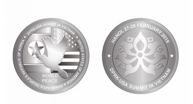 New coins: Designs of the coins to celebrate Trump-Kim summit to be held in Hà Nội on February 27-28. — Photo courtesy of the Vietnam Philately Co.