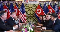 US President Donald Trump (2nd L) and North Korea's leader Kim Jong Un (2nd R) hold a bilateral meeting during the second US-North Korea summit at the Sofitel Legend Metropole hotel in Hanoi on February 28.//AFP