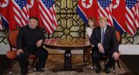A video grab shows US President Donald J. Trump and North Korean leader Kim Jong-un during the start of their second one on one meeting at the US-North Korea summit in Hanoi, Vietnam on February 28.//EPA-EFE