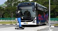 A Volvo AB 7300 electric autonomous bus drives on the track of Centre of Excellence for Testing