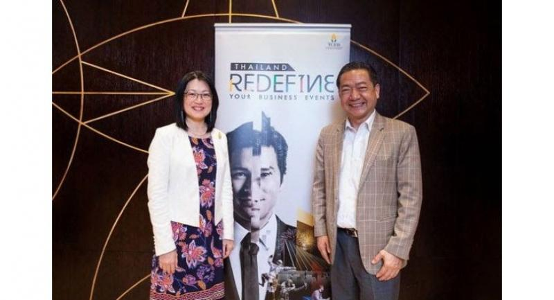 Nichapa Yoswee and Dr Djitt Laowattana announce TCEB's business plan to strengthen the automation and robotics sectors under Thai Government's 4.0 initiative.