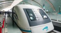 A maglev train in operation in Shanghai.