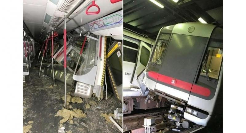 The collision of the two Mass Transit Railway trains happened at around 3am on the Tsuen Wan line when the train operator was testing a new signalling system. (Hong Kong MTR via The Straits Times/File)