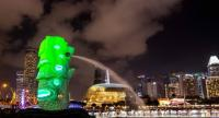 This picture taken on January 24 shows the merlion, Singapore's iconic landmark projected with lights during the preview of the