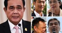 This combination photo shows (clockwise from L) Prayut Chan-O-Cha, Thanathorn Juangroongruangkitm Abhisit Vejjajivam Sudarat Keyuraphan, Anutin Charnvirakul.//AFP