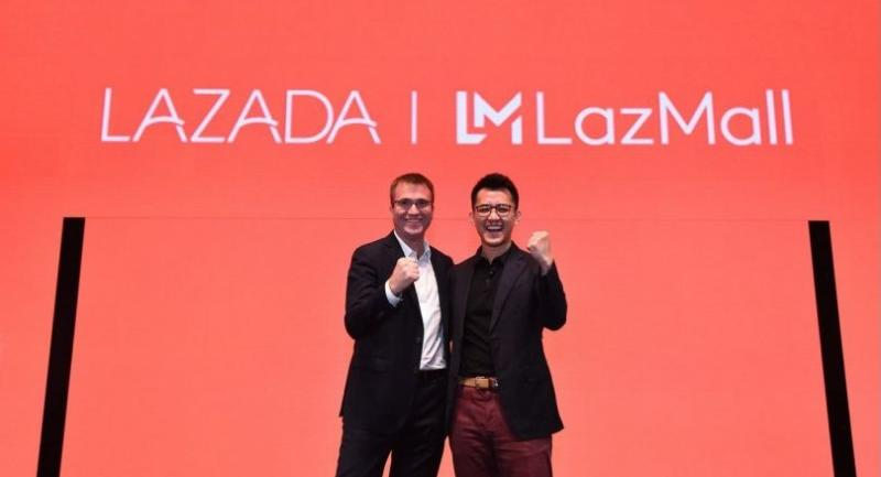Pierre Poignant, (left) chief executive officer of Lazada Group and Jing Yin, (right) president of Lazada Group announces direction at LazMall Brands Future Forum (BFF) in Singapore.