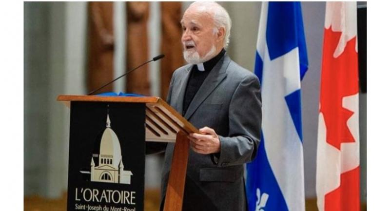 Catholic Priest Claude Grou speaks at a press conference on March 1, 2019. about the work to be done at  at St Joseph's Oratory in Montreal. Photo/AFP