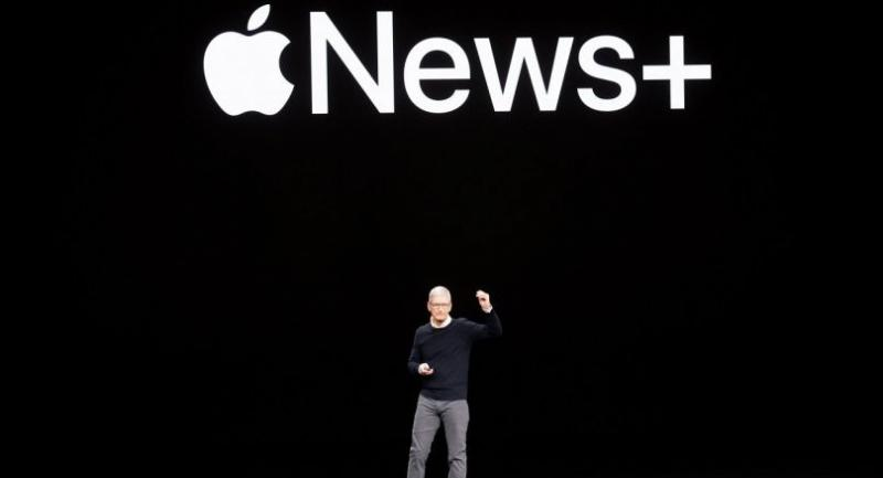 Apple CEO Tim Cook introduces Apple News  during a launch event at Apple headquarters on Monday, March 25, 2019, in Cupertino, California./AFP