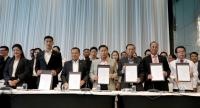 Leaders of six parties, led by Pheu Thai, who claim to have the support of at least 255 MPs gather at a hotel in Bangkok yesterday to issue a joint statement that they will block the junta's moves to remain in power.