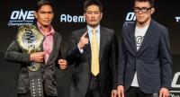 Lightweight World Champion Eduard Folayang,  Chatri Sityodtong, Chairman and CEO of ONE Championship and Shinya  Aoki of Japan.
