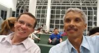 Youssry (left) and Pradeep wait at the Addis Ababa Airport to catch their flight to Kenya.
