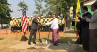 US Ambassador Scot Marciel and and Union Minister U Kyaw Tin, Ministry of Foreign Affairs, Myanmar, shake hands at the ground breaking ceremony for the embassy's liaison office in the capital city of Myanmar.