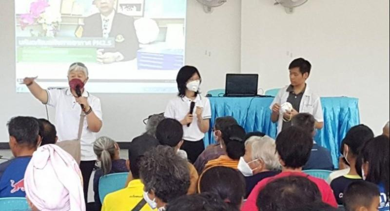 Residents get free health checks in Yangmoen, Chiang Mai, as part of the Clean Room initiative launched by Chiang Mai University (CMU), Suan Dok Hospital Foundation and the Clean Air for All group to build safe refuges from smog in the province.