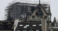 The landmark Notre-Dame de Paris Cathedral is pictured following a fire in the center of the French capital Paris on April 16, 2019. //AFP