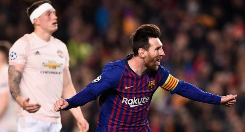 Lionel Messi celebrates after scoring during the UEFA Champions League quarter-final second leg football match between Barcelona and Manchester United.