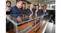 Keeping track: Maric president Datuk Dr Mohd Yusoff Sulaiman speaking with Mahathir at a rail engineering industry display during Technomart REL 2019 in Cyberjaya.//Bernama