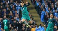 Tottenham Hotspur's South Korean striker Son Heung-Min celebrates scoring his team's second goal. / AFP