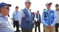 United Nations High Commissioner for Refugees (UNCHR) Filippo Grandi (C) look on next to other members of the delegation of United Nations organizations during their visit to a Rohingya camp in Ukhia, near Cox's Bazar in Bangladesh on April 26.//AFP