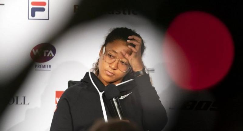 Naomi Osaka of Japan reacts during a press conference at the Porsche Tennis Grand Prix tournament in Stuttgart, Germany, 27 April 2019. Naomi Osaka retired from the tournament due to an injury.//EPA-EFE