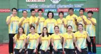 Badminton Association of Thailand president Khunying Patama Leeswadtrakul, back row (middle) and the Thai Sudirman Cup team.