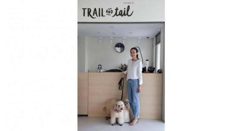 Trail and Tail director Pimsuree Sukapanpotharam with Khai Jiew and Truffle.