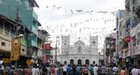 A general view of St. Anthony's Shrine in Colombo on April 29, 2019, a week after a series of bomb blasts targeting churches and luxury hotels on Easter Sunday in Sri Lanka.//AFP