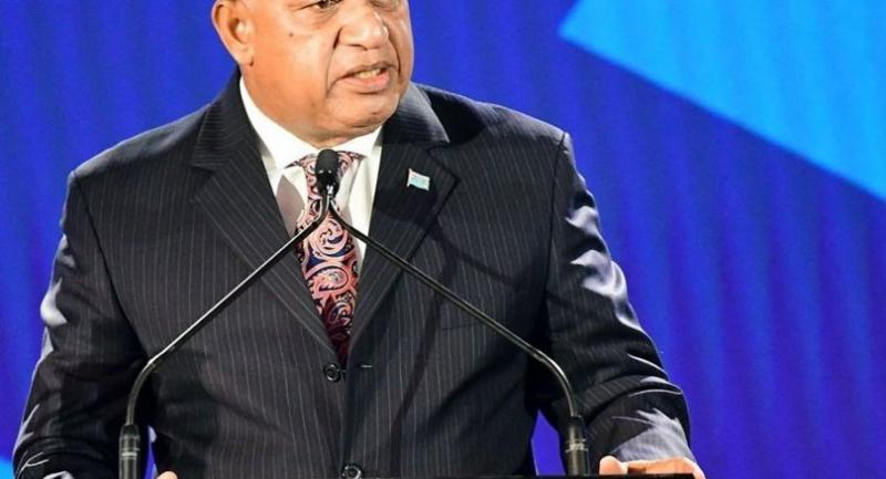 iji Prime Minister Voreqe Bainimarama speaks at the opening of the 52nd ADB annual meeting. [Photo courtesy of Fiji Department of Information]