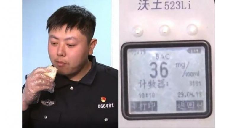 An officer measured his blood alcohol level after eating durian and found the recording was 36mg per 100ml.//Photos : SCREENGRAB FROM N.MIAOPAI.COM.