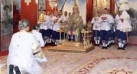 HM King Maha Vajiralongkorn sits on the Bhadrapitha Throne during the Crowning and the Investiture Ceremony on Saturday.