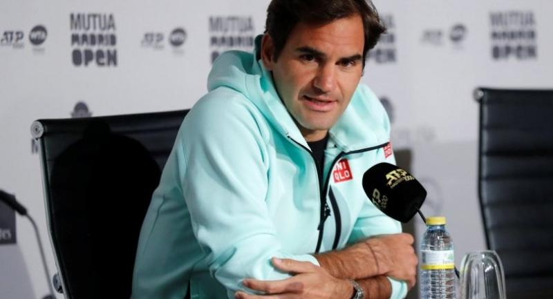 Swiss tennis player Roger Federer addresses a press conference at the Mutua Madrid Open tennis tournament at Caja Magica tennis complex, in Madrid, Spain, May 5.//EPA-EFE